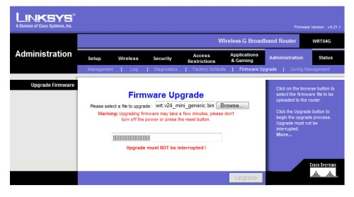 Upgrading to DD-WRT firmware